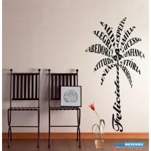 Adesivo Decorativo Frases Felicitações em Forma de Palmeira