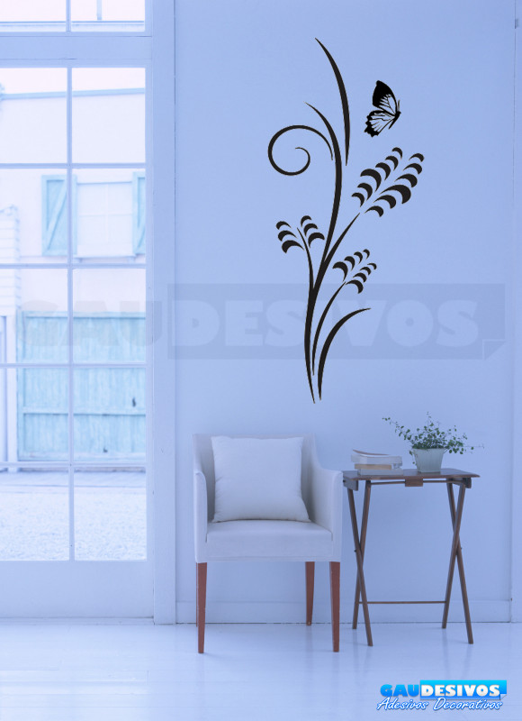 Aparador Verde Envejecido ~ Adesivo Decorativo de parede floral e borboleta