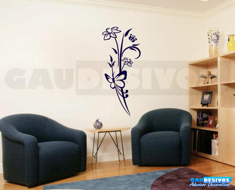 Aparador Verde Envejecido ~ Adesivo Decorativo de parede floral junto com borboleta grande