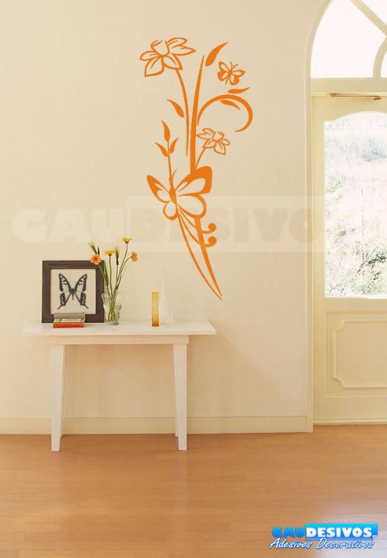 Adesivo Decorativo De Parede Floral Com Borboletas ~ Adesivo Decorativo de parede borboleta com floral e rosas