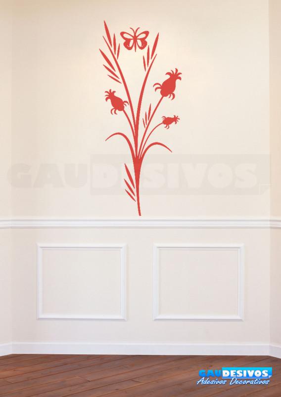 Aparador Verde Envejecido ~ Adesivo Decorativo de parede Floral com borboleta e planta