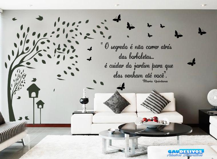 Adesivo De Parede Arvore Com Fotos ~ Adesivo Decorativo de Parede Arvore Galhos e Frase