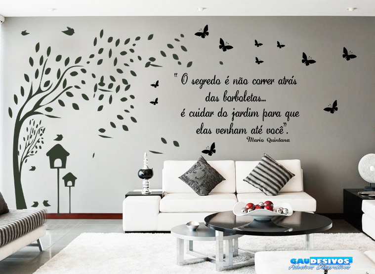Artesanato Baiano Onde Comprar ~ Adesivo Decorativo de Parede Arvore Galhos e Frase