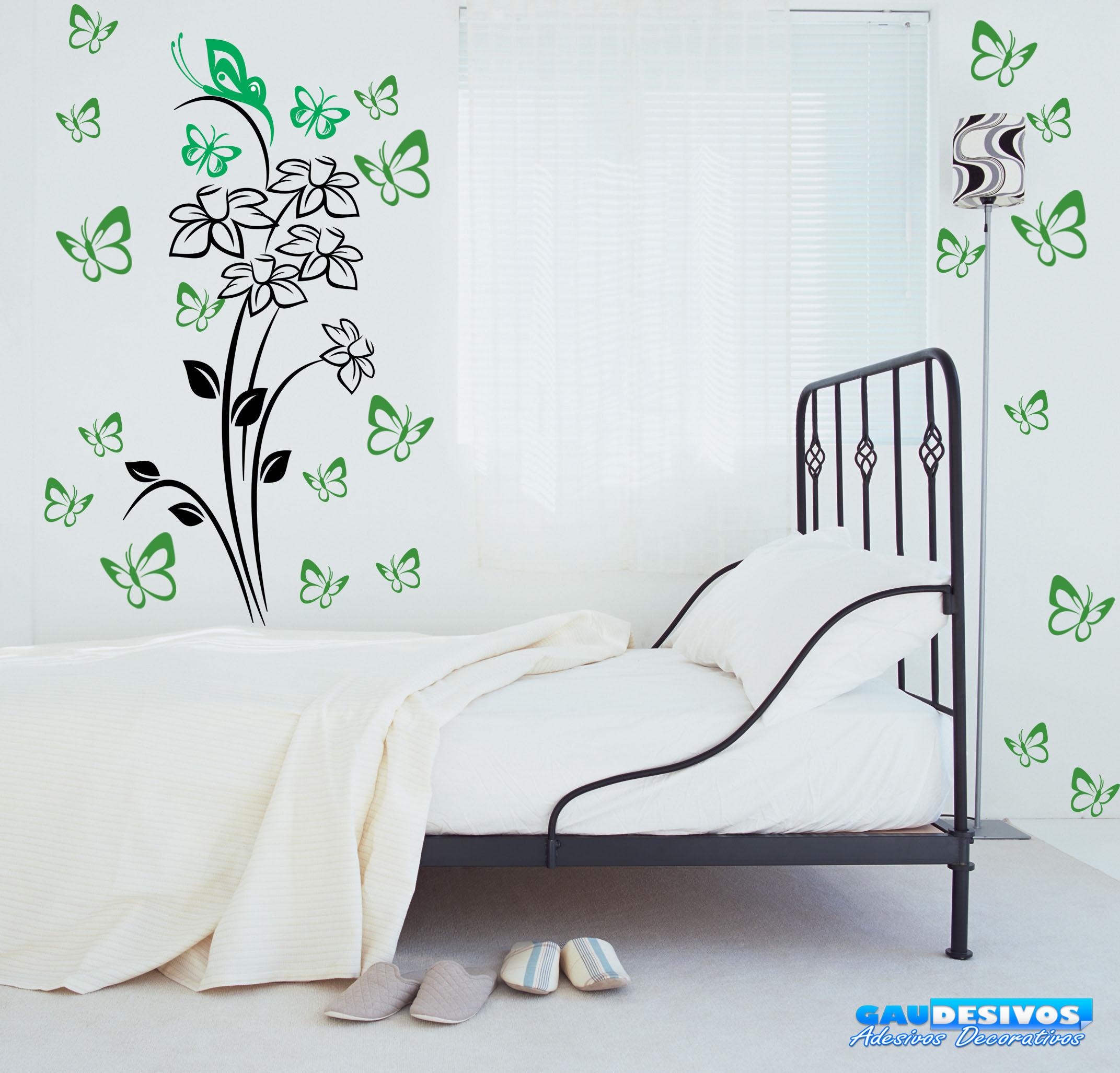 Aparador Verde Envejecido ~ Combo Adesivo Decorativo de Parede Floral 3 e Kite Borboletas