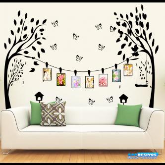 Adesivo Decorativo de Parede Árvore Com Porta Retrato e Borboletas