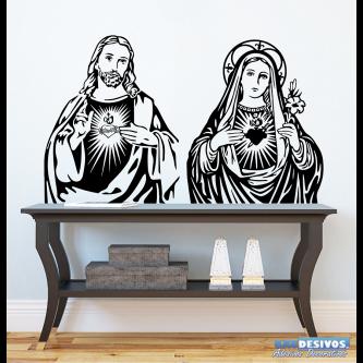 Adesivo Decorativo de Parede Religioso Jesus e Maria