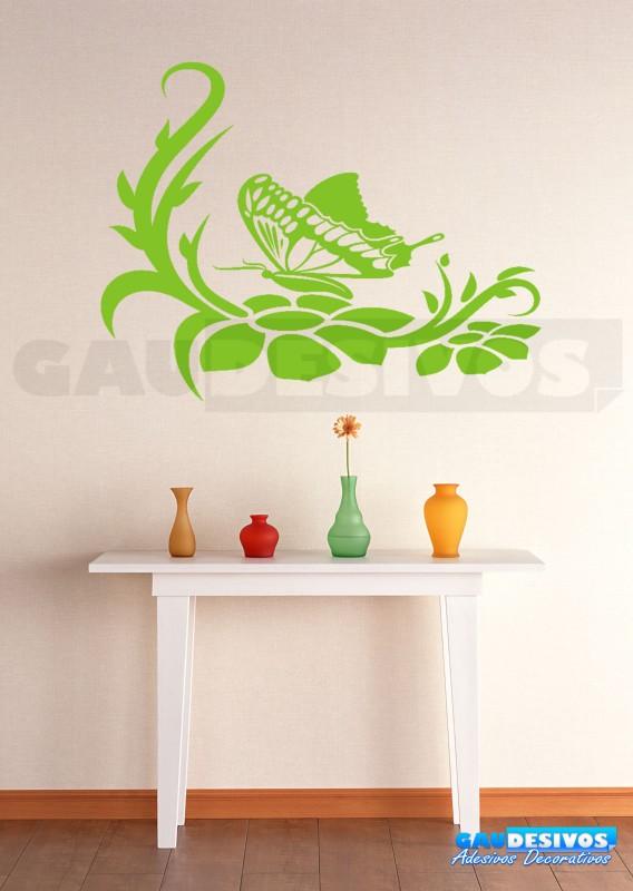 Aparador Verde Envejecido ~ Adesivo De Parede Decorativo Borboleta Com Floral