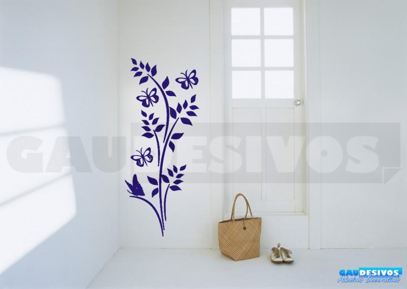 Aparador Verde Envejecido ~ Adesivo Decorativo de parede Floral com 3 borboleta