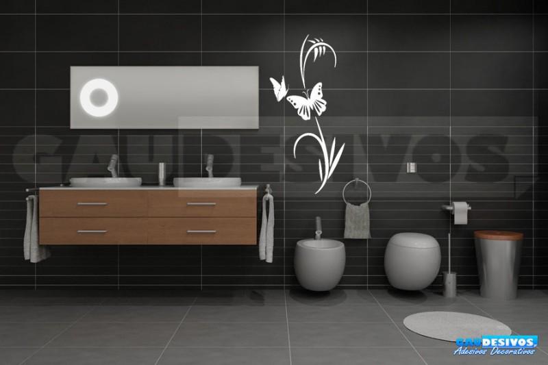 Aparador Verde Envejecido ~ Adesivo Decorativo de parede Floral com 2 borboleta