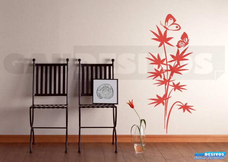 Aparador Verde Envejecido ~ Adesivo Decorativo de parede Floral com borboleta