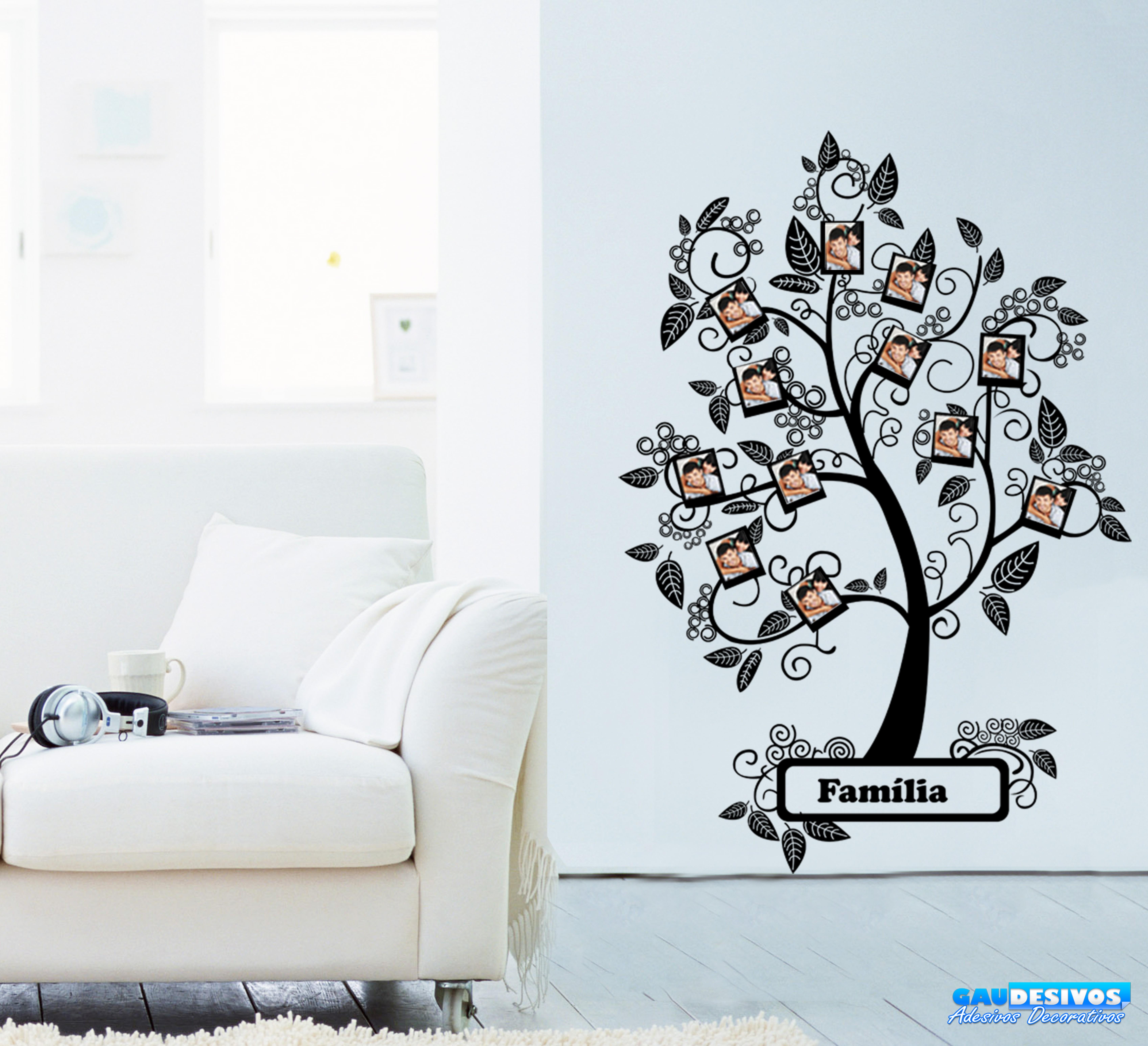 Aparador Vitrina Comedor ~ Adesivo De Parede Decorativo Arvore Família Retratos