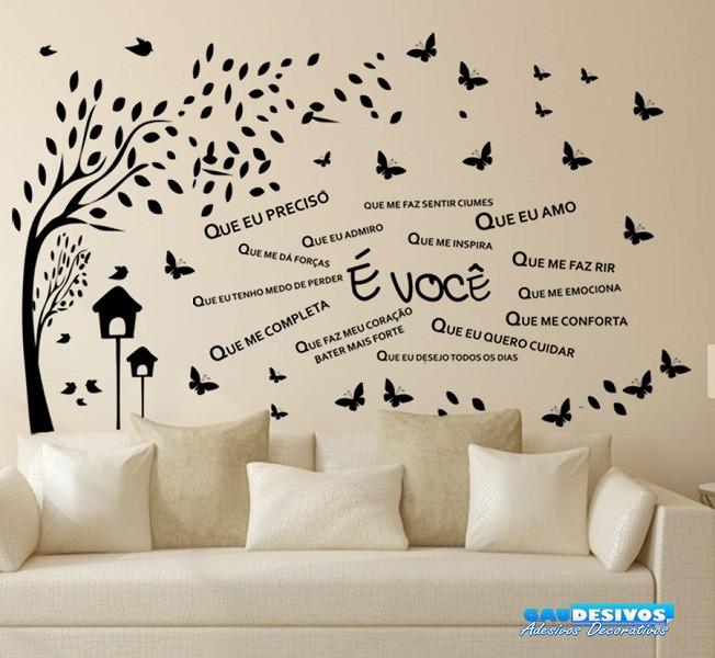 a02d4e2cd Adesivo Decorativo de Parede Combo Frase É Você e Árvore - Combo