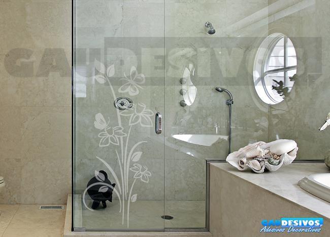 Aparador Tampo De Vidro Branco ~ Adesivo Decorativo para Vidro Box Floral Jateado Jateado