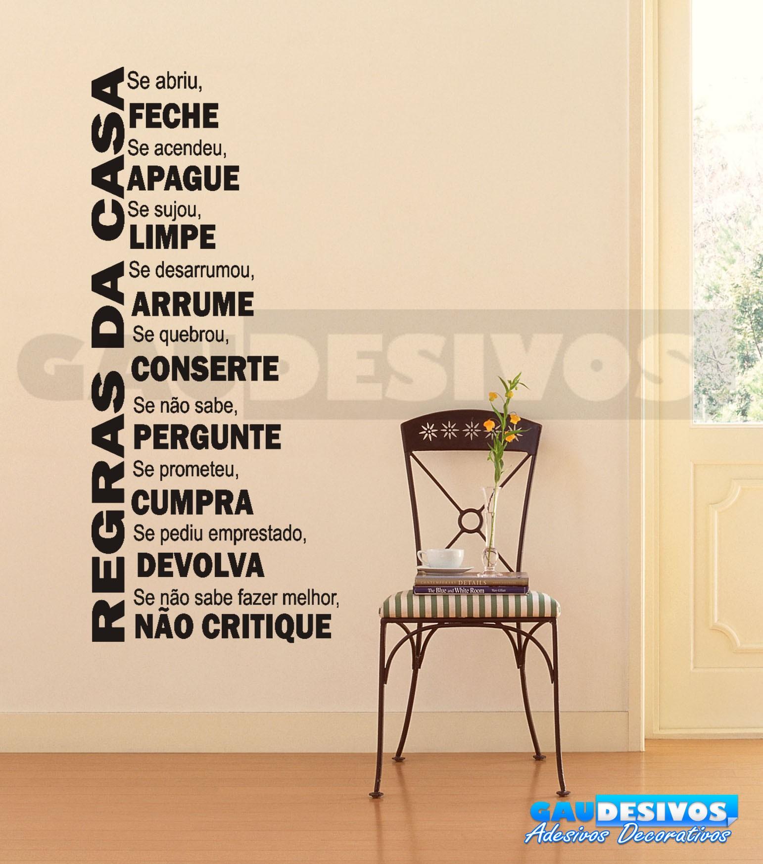 Adesivo Frases educação Regras da Casa Frases #0C6DBF 1542 1746