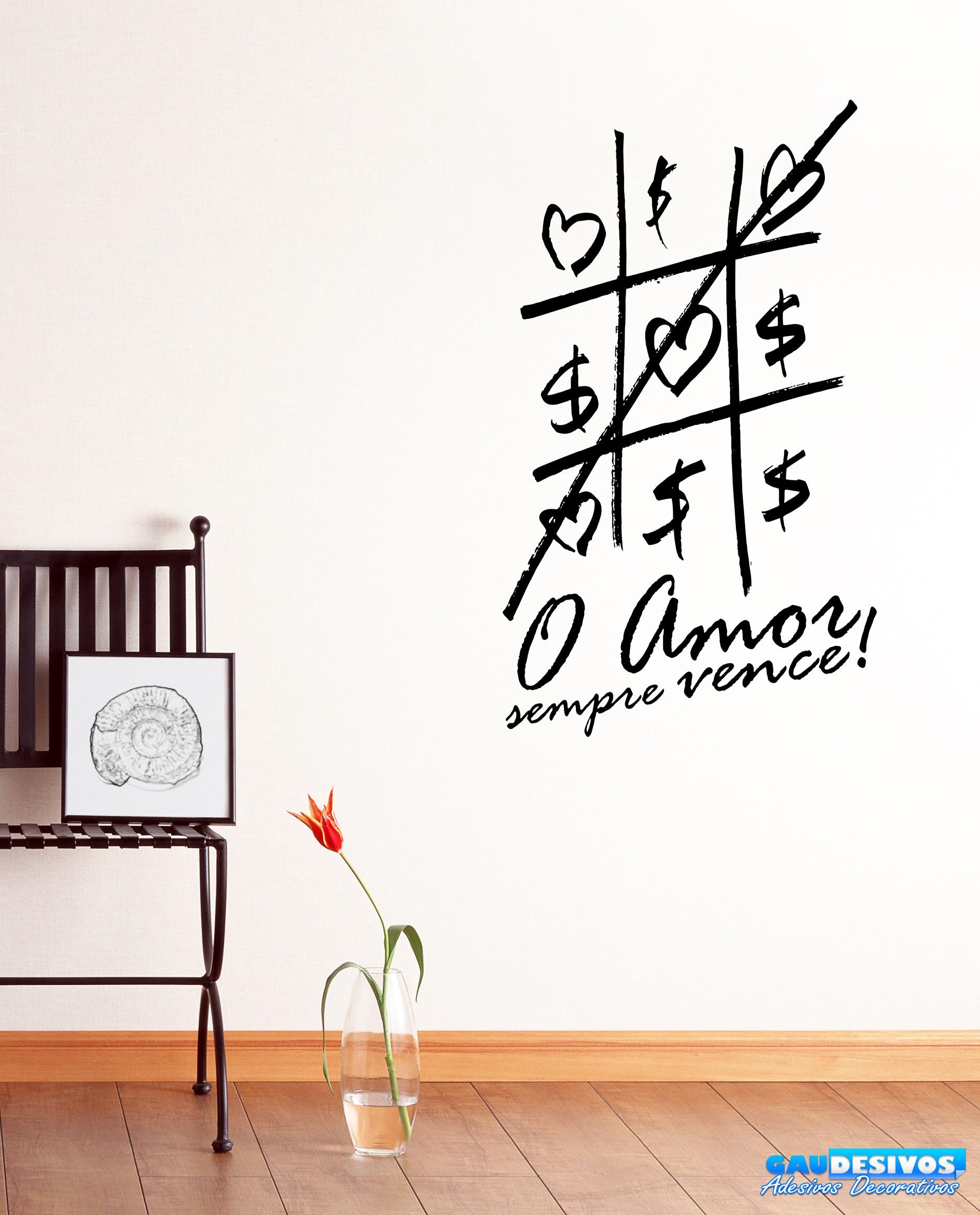 Adesivo Decorativo De Parede Frase O Amor Sempre Vence Frases #0D69BE 1870 2318