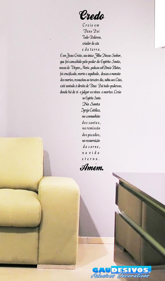 adesivo decorativo de parede frase credo em formato de cruz