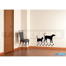 Adesivo Cachorro e gato com patinhas