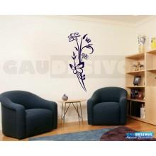 Adesivo Decorativo de parede floral junto com borboleta grande