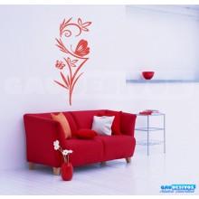 Adesivo Decorativo de parede Floral grande com borboleta