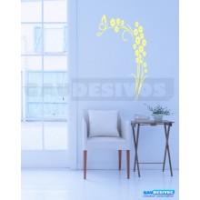 Adesivo Decorativo de parede Flora e flores com grande borboleta