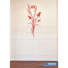 Adesivo Decorativo de parede Floral com borboleta e planta