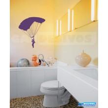 Adesivo de parede decorativos banheiro Paraquedas aberto