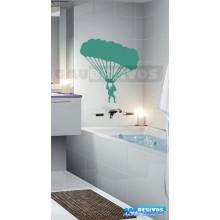 Adesivo de parede decorativos banheiro paraquedista