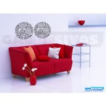 Adesivo Abstrato 4 Bola em Espiral tamanho 22cm cada