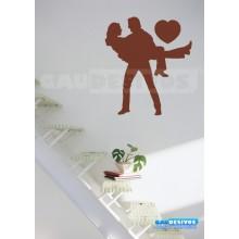 Adesivo decorativo Romantico casal no colo e Coração