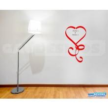 Adesivo decorativo Romantico laços de coração com NOMES Personalizados