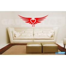 Adesivo De Parede Decorativo Coração Em Asas Grande