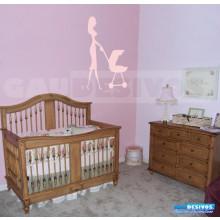 Adesivo de parede decorativo silhueta Mulher e bebe