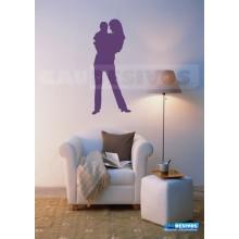 Adesivo de parede decorativo silhueta teen mulher e criança