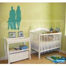Adesivo de parede decorativo silhueta teen Familia
