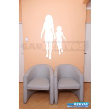 Adesivo de parede decorativo silhueta teen Mãe e e Filha