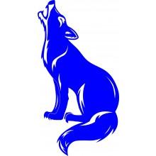 Adesivo Decorativo de Parede Animal Lobo Azul Médio