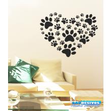 Adesivo Decorativo de Parede Animal Patas em Formato de Coração
