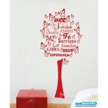 Adesivo Decorativo de Parede Arvore Borboletas e Felicitações