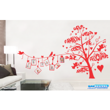Adesivo Decorativo de Parede Árvore Porta Retrato com Pássaros