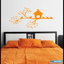 Adesivo Decorativo de Parede Árvore e Casa de Pássaros