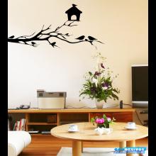 Adesivo Decorativo de Parede Árvore com Casa e Passaros