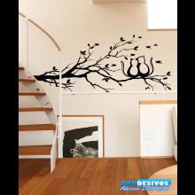 Adesivo Decorativo de Parede Árvore com Gatos encima Apaixonados