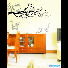 Adesivo Decorativo de Parede Árvore e Gatos
