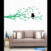Adesivo Decorativo de Parede Árvore Gato no Galho