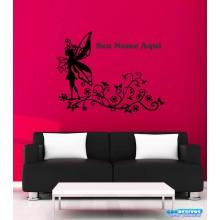 Adesivos Decorativo Personalizado Fada E Flores Com Seu Nome (Mande Por Email)