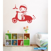 Adesivo Decorativo de Parede Infantil Menina na Motocicleta