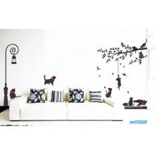 Combo Adesivo Decorativo de Parede Arvore, Poste e Gatos