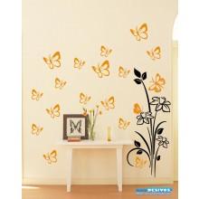 Combo Adesivo Decorativo de Parede Floral e Kit Borboleta