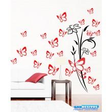 Combo Adesivos Decorativo de Parede Kit Borboleta E Floral 2