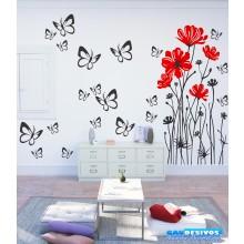 Combo Adesivo Decorativo de Parede Flores e Borboletas